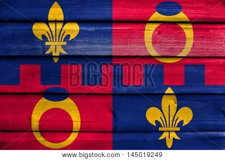 Flag Of Montgomery County, Maryland, Usa, Painted On Old Wood Plank Background