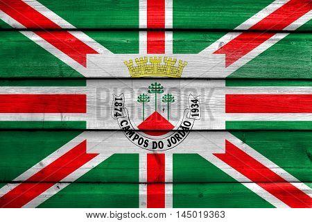 Flag Of Municipio De Campos Do Jordao, Sao Paulo, Brazil, Painted On Old Wood Plank Background