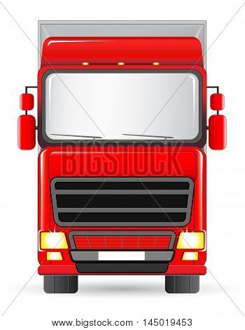 isolated red delivery truck on white background