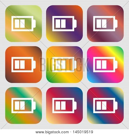 Battery Half Level Sign Icon. Low Electricity Symbol . Nine Buttons With Bright Gradients For Beauti