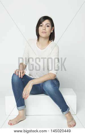 real girl in natural poses during a shooting