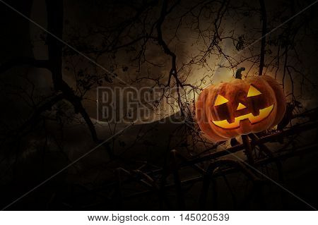 Jack O Lantern pumpkin on old fence over dead tree moon and cloudy sky Mystery background Halloween concept