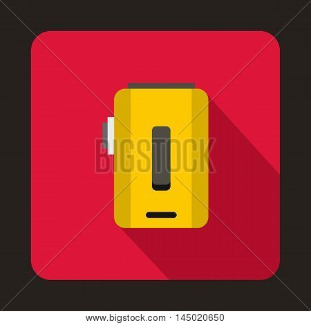 Box mod, vaporizer icon in flat style on a crimson background