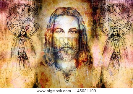 Jesus And Beautiful Angel Being With Dove And Sprig, Spiritual Concept. Jesus Face In Cosmic Space.