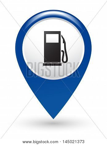 isolated blue road gas station pointer on white
