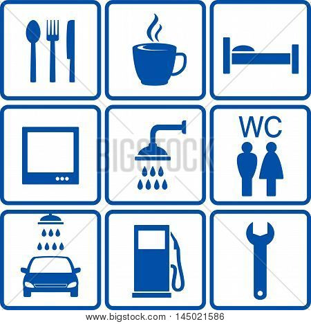 blue set of travel automotive road signs