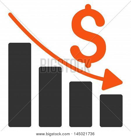 Sales Crisis Chart icon. Vector style is bicolor flat iconic symbol with rounded angles, orange and gray colors, white background.