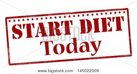 Rubber stamp with text start diet today inside vector illustration