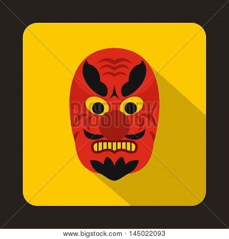 Hannya mask icon in flat style on a yellow background