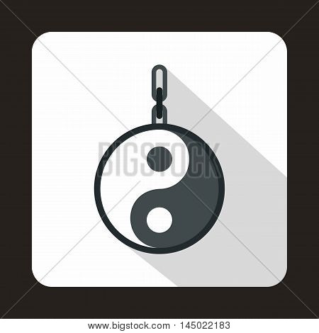Amulet of yin yang icon in flat style on a white background