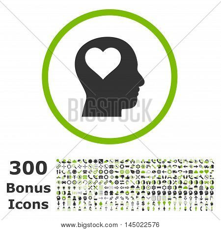 Lover Head rounded icon with 300 bonus icons. Vector illustration style is flat iconic bicolor symbols, eco green and gray colors, white background.