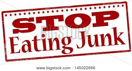 Rubber stamp with text stop eating junk inside vector illustration