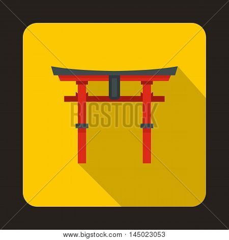 Japan gate icon in flat style on a yellow background