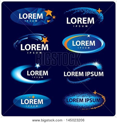 Set of abstract space stars signs. Logo design templates.