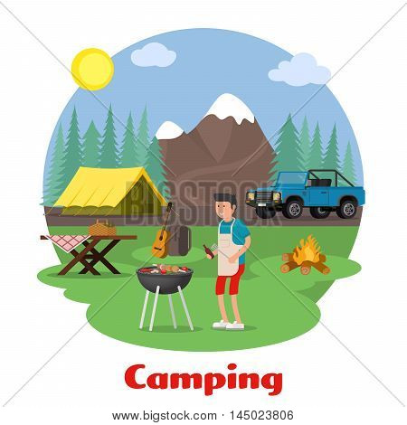 Camping and outdoor recreation concept. Man of cooking meat on the background of mountain scenery. Forest camp with a tent with a jeep. Vector illustration.