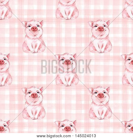Seamless pattern with pig. Checkered background. Plaid