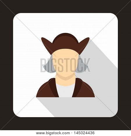 Christopher Columbus icon in flat style isolated with long shadow