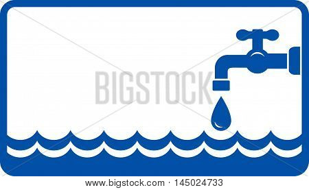 plumbing background with blue water wave and tap