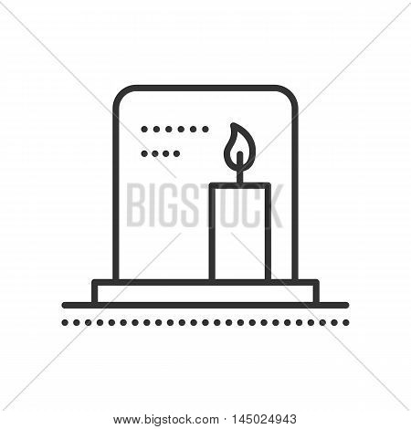 Tombstone with candle. Gravestone flat icon. Symbol of death and funeral. Gravestone on cemetery. Vector outline illustration isolated on white background. Thin line style.