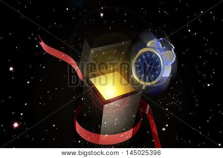 3d illustration of sun going out from a gift box