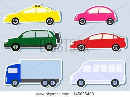 transport set with colorful car truck and minibus silhouette