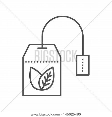 Teabag with herbal tea. Hot drink contour symbol. Vector flat icon. Thin line style. Outline illustration isolated on white background.