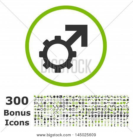 Technological Potence rounded icon with 300 bonus icons. Vector illustration style is flat iconic bicolor symbols, eco green and gray colors, white background.