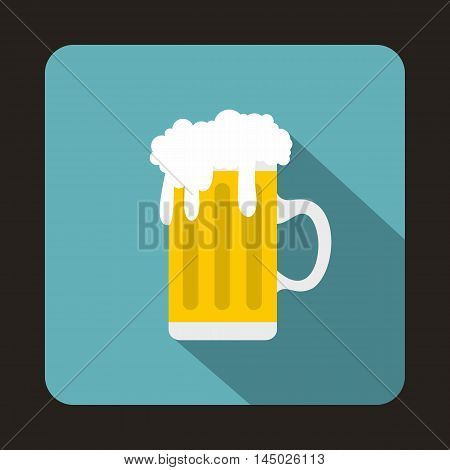 Mug fresh beer with cap of foam icon in flat style isolated with long shadow