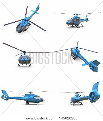 Set blue civilian helicopter on a white uniform background. 3d illustration