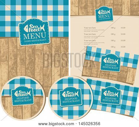 set of design elements for seafood restaurant with the texture of wooden planks and tablecloths