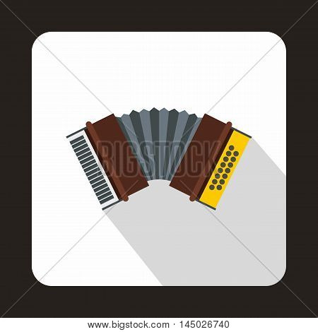 Oktoberfest accordion icon in flat style isolated with long shadow