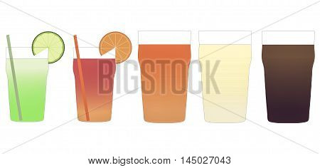 Cocktail And Beer Illustration Vintage