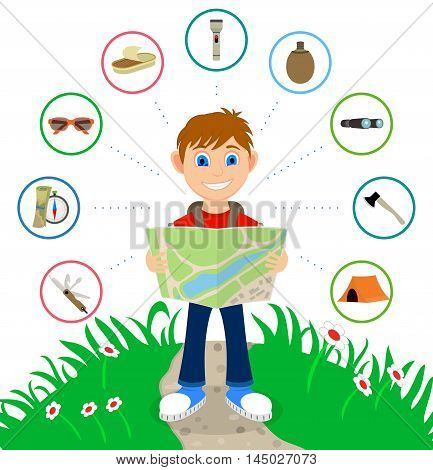 Cartoon traveler with a large backpack and icons including including a knife, map and compass, sunglasses, canned food, flashlight, canteen, binoculars, axe and a tent. Backpacker illustration