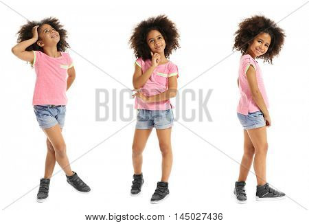 Collage of little cute girl having fun on white background.