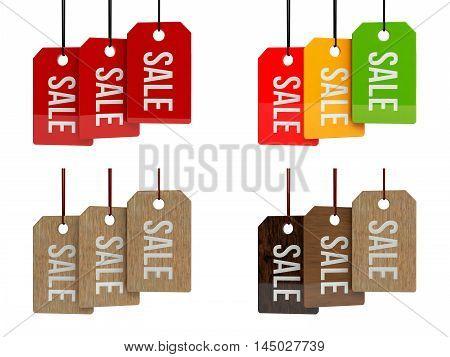 Price labels. Sale. SALE poster. Sale tag on color hanging labels. 3d illustration