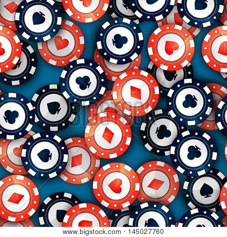 A lot of red and blue casino chips with cards signs on casino table seamless pattern