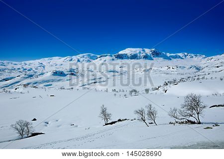 Snow covered mountain peak in Europe on a sunny day