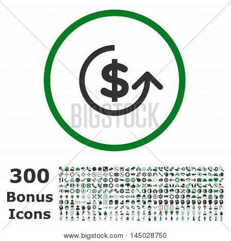 Chargeback rounded icon with 300 bonus icons. Vector illustration style is flat iconic bicolor symbols, green and gray colors, white background.