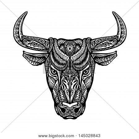 Bull, taurus painted tribal ethnic ornament. Vector illustration