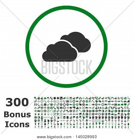 Clouds rounded icon with 300 bonus icons. Vector illustration style is flat iconic bicolor symbols, green and gray colors, white background.