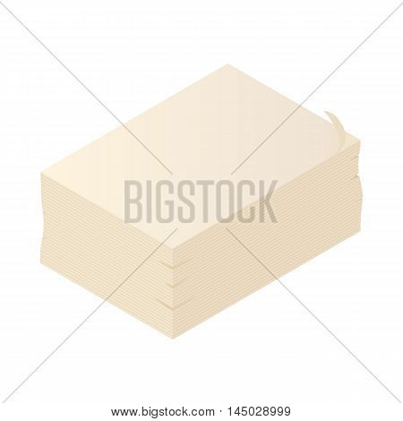 Printing paper icon in cartoon style isolated on white background. Consumables symbol