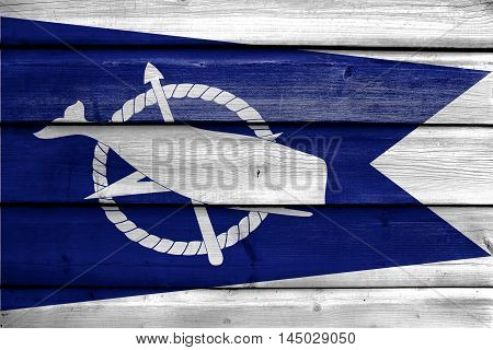 Flag Of Nantucket, Massachusetts, Usa, Painted On Old Wood Plank Background