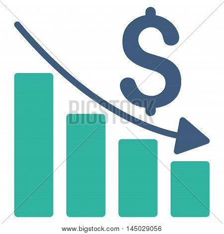 Sales Crisis Chart icon. Vector style is bicolor flat iconic symbol with rounded angles, cobalt and cyan colors, white background.