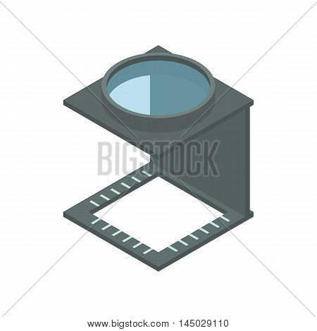 Magnifying glass icon in cartoon style isolated on white background. Zoom symbol