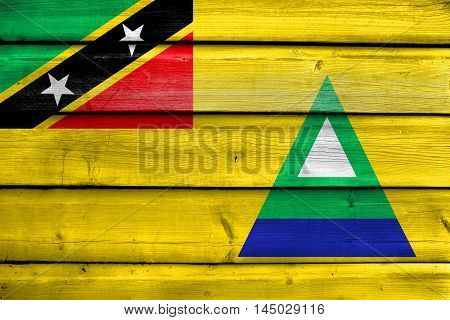 Flag Of Nevis, Saint Kitts And Nevis, Painted On Old Wood Plank Background