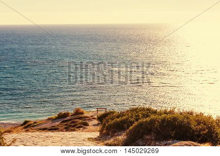 Bench on the sea coast