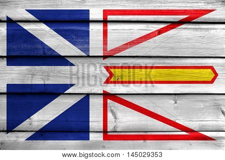 Flag Of Newfoundland And Labrador Province, Canada, Painted On Old Wood Plank Background