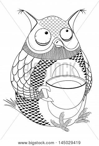 black picture of an owl drinking coffee. tattoo. vector image