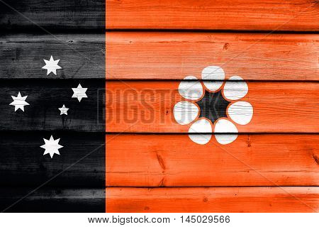 Flag Of Northern Territory, Australia, Painted On Old Wood Plank Background