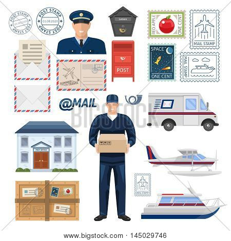 Post office set with employees building imprint and postage stamps transportation parcel and letters isolated vector illustration